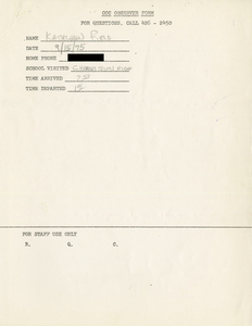 Citywide Coordinating Council daily monitoring report for Charlestown High School by Kathleen Field, 1975 September 15