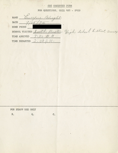 Citywide Coordinating Council daily monitoring report for South Boston High School's L Street Annex by Euryne Wright, 1975 September 15