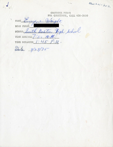 Citywide Coordinating Council daily monitoring report for South Boston High School by Euryne Wright, 1975 September 29
