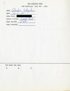 Citywide Coordinating Council daily monitoring report for Hyde Park High School by Gladys Staples, 1975 October 1