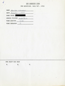 Citywide Coordinating Council daily monitoring report for Hyde Park High School by Marilee Wheeler, 1975 October 1