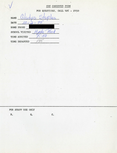 Citywide Coordinating Council daily monitoring report for Hyde Park High School by Gladys Staples, 1975 October 2