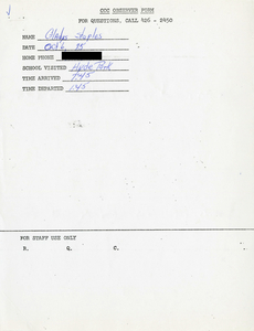 Citywide Coordinating Council daily monitoring report for Hyde Park High School by Gladys Staples, 1975 October 6