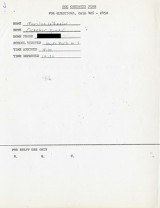 Citywide Coordinating Council daily monitoring report for Hyde Park High School by Marilee Wheeler, 1975 October 7