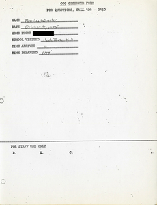 Citywide Coordinating Council daily monitoring report for Hyde Park High School by Marilee Wheeler, 1975 October 8