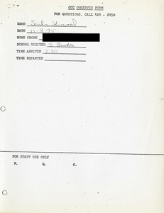 Citywide Coordinating Council daily monitoring report for South Boston High School by Sandra Sherwood, 1975 October 8