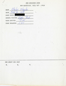 Citywide Coordinating Council daily monitoring report for Hyde Park High School by Gladys Staples, 1975 October 10