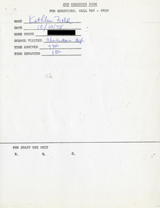 Citywide Coordinating Council daily monitoring report for Charlestown High School by Kathleen Field, 1975 October 10