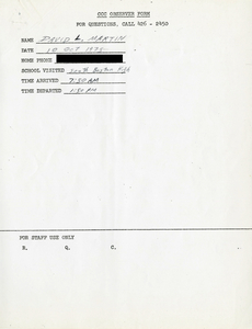 Citywide Coordinating Council daily monitoring report for South Boston High School by David L. Martin, 1975 October 10