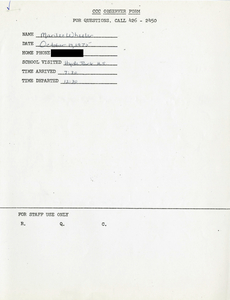 Citywide Coordinating Council daily monitoring report for Hyde Park High School by Marilee Wheeler, 1975 October 14