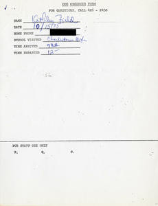 Citywide Coordinating Council daily monitoring report for Charlestown High School by Kathleen Field, 1975 October 15