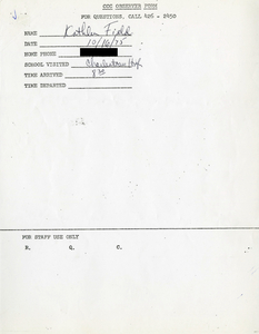 Citywide Coordinating Council daily monitoring report for Charlestown High School by Kathleen Field, 1975 October 16