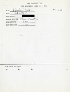 Citywide Coordinating Council daily monitoring report for Charlestown High School by Kathleen Field, 1975 October 17