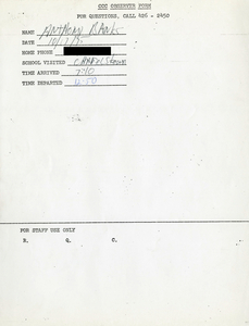 Citywide Coordinating Council daily monitoring report for Charlestown High School by Anthony Banks, 1975 October 17
