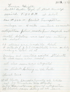 Citywide Coordinating Council daily monitoring report for South Boston High School's L Street Annex by Euryne Wright, 1975 November 3