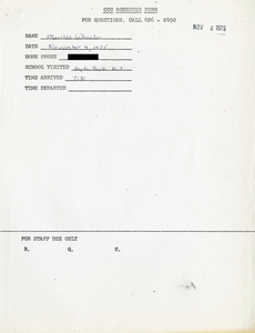 Citywide Coordinating Council daily monitoring report for Hyde Park High School by Marilee Wheeler, 1975 November 4