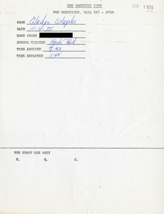 Citywide Coordinating Council daily monitoring report for Hyde Park High School by Gladys Staples, 1975 November 4