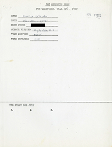 Citywide Coordinating Council daily monitoring report for Hyde Park High School by Marilee Wheeler, 1975 November 5