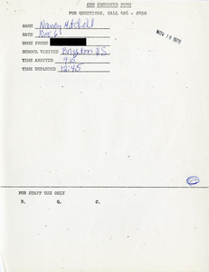 Citywide Coordinating Council daily monitoring report for Brighton High School by Nancy Mitchell, 1975 November 6