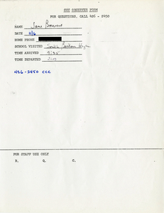 Citywide Coordinating Council daily monitoring report for South Boston High School by Jane Bowers, 1975 November 6