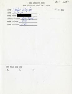 Citywide Coordinating Council daily monitoring report for Hyde Park High School by Gladys Staples, 1975 November 7