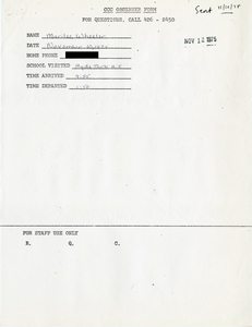 Citywide Coordinating Council daily monitoring report for Hyde Park High School by Marilee Wheeler, 1975 November 10