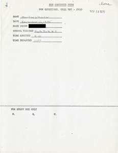 Citywide Coordinating Council daily monitoring report for Hyde Park High School by Marilee Wheeler, 1975 November 12