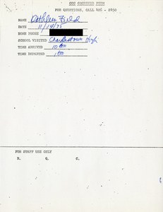 Citywide Coordinating Council daily monitoring report for Charlestown High School by Kathleen Field, 1975 November 14