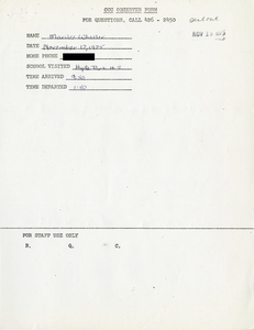 Citywide Coordinating Council daily monitoring report for Hyde Park High School by Marilee Wheeler, 1975 November 17