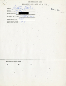 Citywide Coordinating Council daily monitoring report for Charlestown High School by Anthony Banks, 1975 November 17