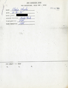 Citywide Coordinating Council daily monitoring report for Hyde Park High School by Gladys Staples, 1975 November 18