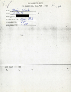 Citywide Coordinating Council daily monitoring report for Hyde Park High School by Gladys Staples, 1975 November 19