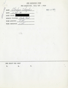 Citywide Coordinating Council daily monitoring report for Hyde Park High School by Gladys Staples, 1975 November 20