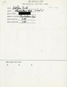 Citywide Coordinating Council daily monitoring report for Charlestown High School by Kathleen Field, 1975 November 20