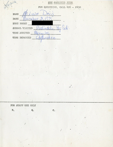 Citywide Coordinating Council daily monitoring report for Roslindale High School by Linda Davis, 1975 November 21