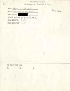 Citywide Coordinating Council daily monitoring report for Hyde Park High School by Marilee Wheeler, 1975 November 24