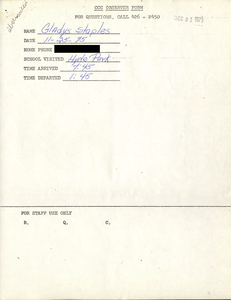Citywide Coordinating Council daily monitoring report for Hyde Park High School by Gladys Staples, 1975 November 25