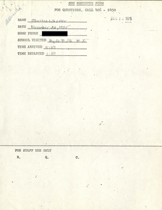 Citywide Coordinating Council daily monitoring report for Hyde Park High School by Marilee Wheeler, 1975 November 26