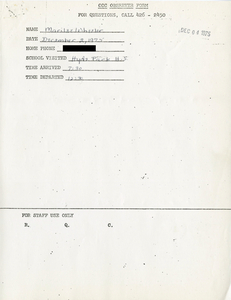 Citywide Coordinating Council daily monitoring report for Hyde Park High School by Marilee Wheeler, 1975 December 2