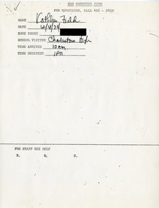 Citywide Coordinating Council daily monitoring report for Charlestown High School by Kathleen Field, 1975 December 4