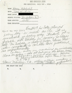 Citywide Coordinating Council daily monitoring report for Brighton High School by Nancy Mitchell, 1975 December 5