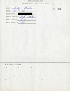 Citywide Coordinating Council daily monitoring report for Hyde Park High School by Gladys Staples, 1975 December 11