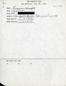 Citywide Coordinating Council daily monitoring report for South Boston High School's L Street Annex by Euryne Wright, 1975 December 15
