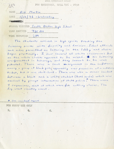 Citywide Coordinating Council daily monitoring report for South Boston High School by Bill Martin, 1976 January 14