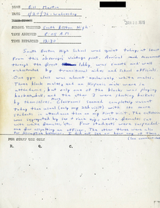 Citywide Coordinating Council daily monitoring report for South Boston High School by Bill Martin, 1976 January 20
