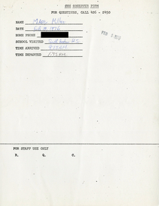 Citywide Coordinating Council daily monitoring report for South Boston High School by Marc Miller, 1976 February 3