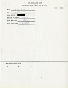 Citywide Coordinating Council daily monitoring report for South Boston High School by Marc Miller, 1976 February 10