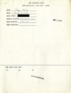 Citywide Coordinating Council daily monitoring report for South Boston High School by Marc Miller, 1976 March 9