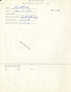 Citywide Coordinating Council daily monitoring report for South Boston High School by Everett Blake, 1976 March 10