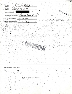 Citywide Coordinating Council daily monitoring report for South Boston High School by Blake Everett, 1976 April 14